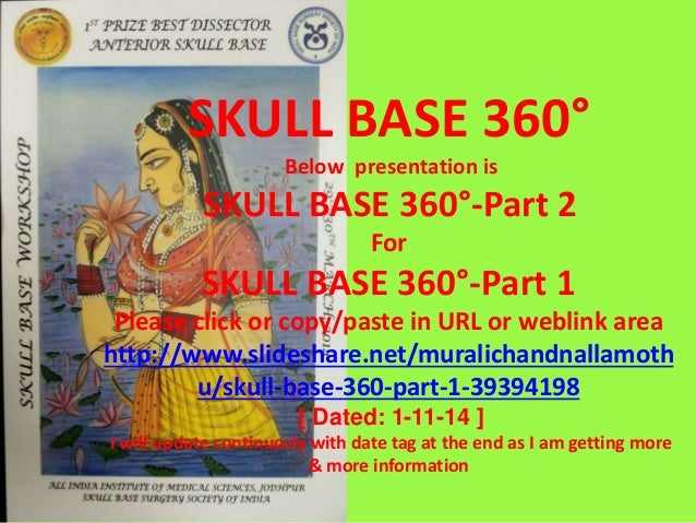 SKULL BASE 360° Below presentation is SKULL BASE 360°-Part 2 For SKULL BASE 360°-Part 1 Please click or copy/paste in URL ...