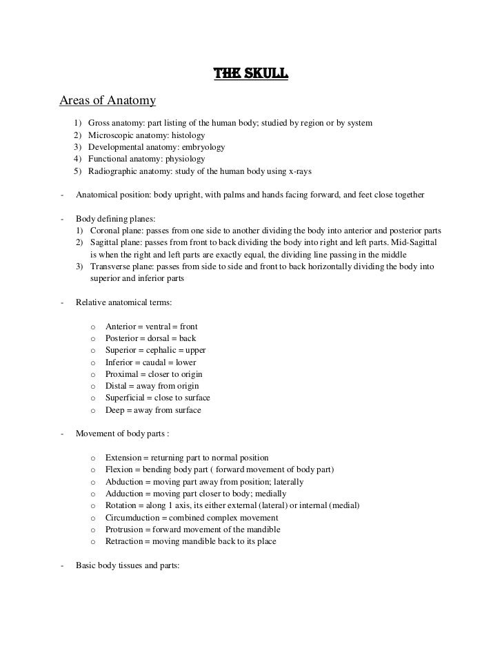 The SkullAreas of Anatomy    1)   Gross anatomy: part listing of the human body; studied by region or by system    2)   Mi...