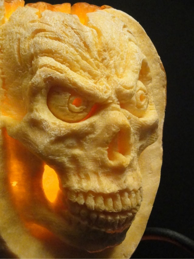 Skull pumpkin in flames