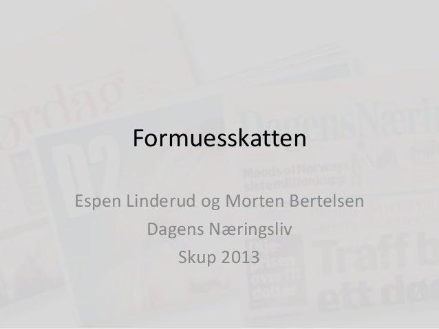 FormuesskattenEspen Linderud og Morten Bertelsen         Dagens Næringsliv            Skup 2013