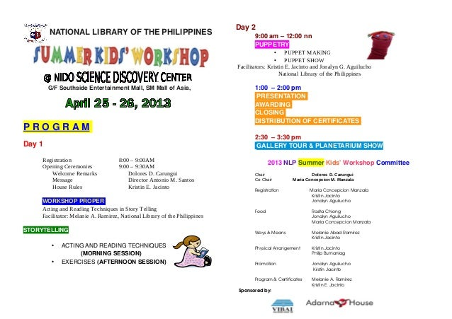 Day 2        NATIONAL LIBRARY OF THE PHILIPPINES                                         9:00 am – 12:00 nn               ...