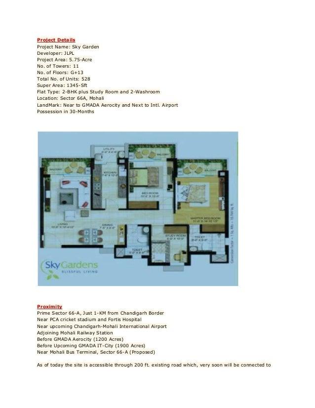2BHK Sky Garden, JLPL, Sector 66 A, Mohali.  Slide 2