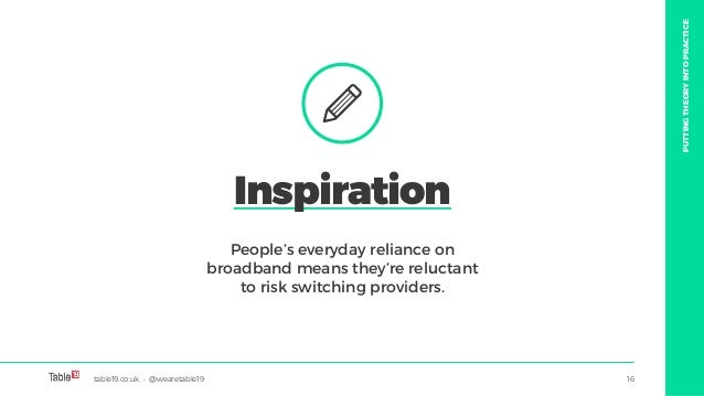 table19.co.uk • @wearetable19 16 People's everyday reliance on broadband means they're reluctant to risk switching provide...