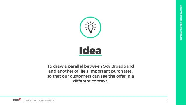 table19.co.uk • @wearetable19 17 To draw a parallel between Sky Broadband and another of life's important purchases, so th...