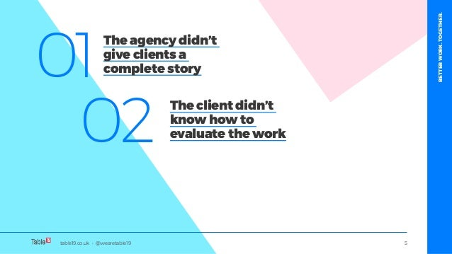 table19.co.uk • @wearetable19 5 01 02 The agency didn't give clients a complete story The client didn't know how to evalua...