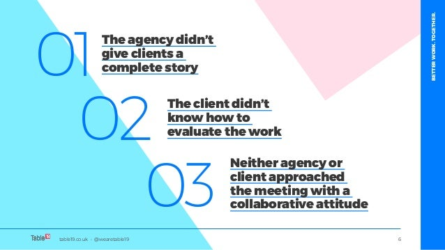 table19.co.uk • @wearetable19 6 01 02 03 The agency didn't give clients a complete story The client didn't know how to eva...