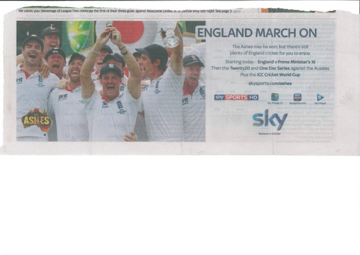 Sky cricket after ashes win