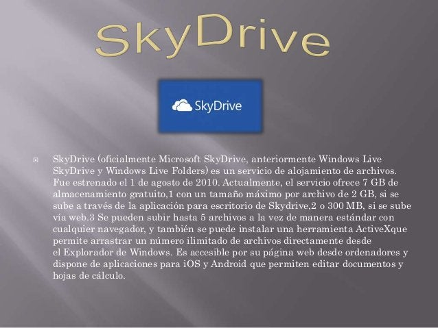   SkyDrive (oficialmente Microsoft SkyDrive, anteriormente Windows Live SkyDrive y Windows Live Folders) es un servicio d...
