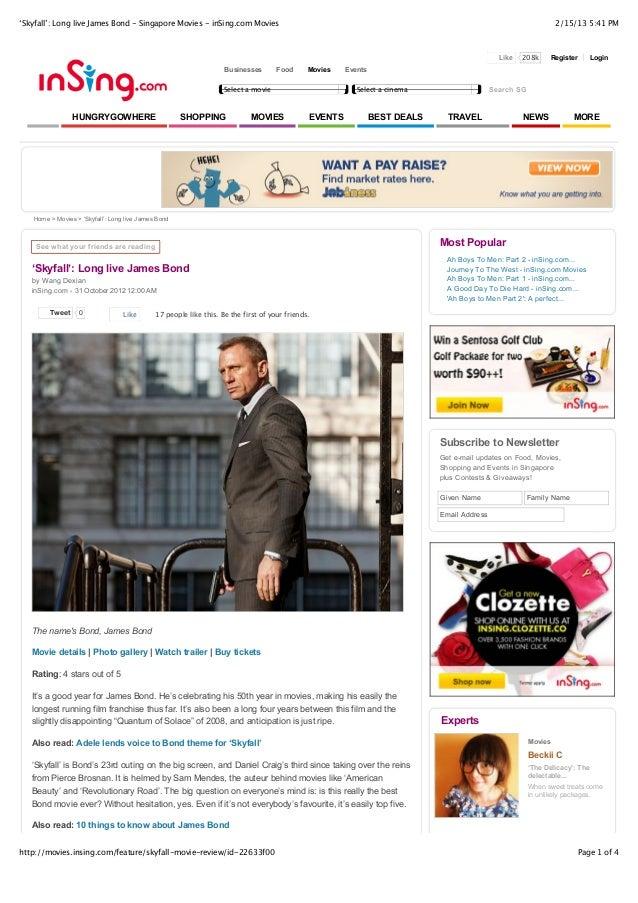'Skyfall': Long live James Bond - Singapore Movies - inSing.com Movies                                                    ...
