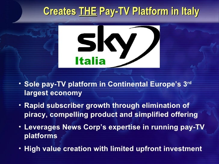 Pro-Forma Ownership Structure News Corp. and Telecom Italia to Merge Stream and Telepiu to Create a Single Pay-TV Platform...