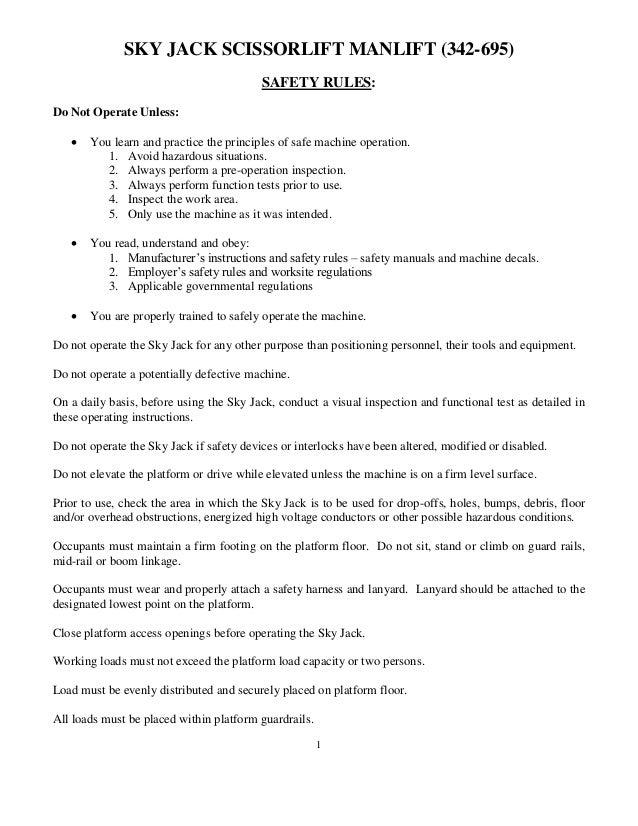 skyjack scissor lift operators manual