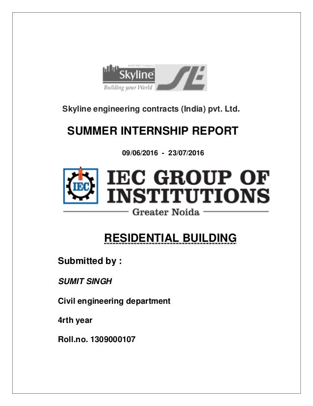 civil engineering internship report Student internship program department of civil and architectural engineering employer report on internship department of civil and architectural engineering.