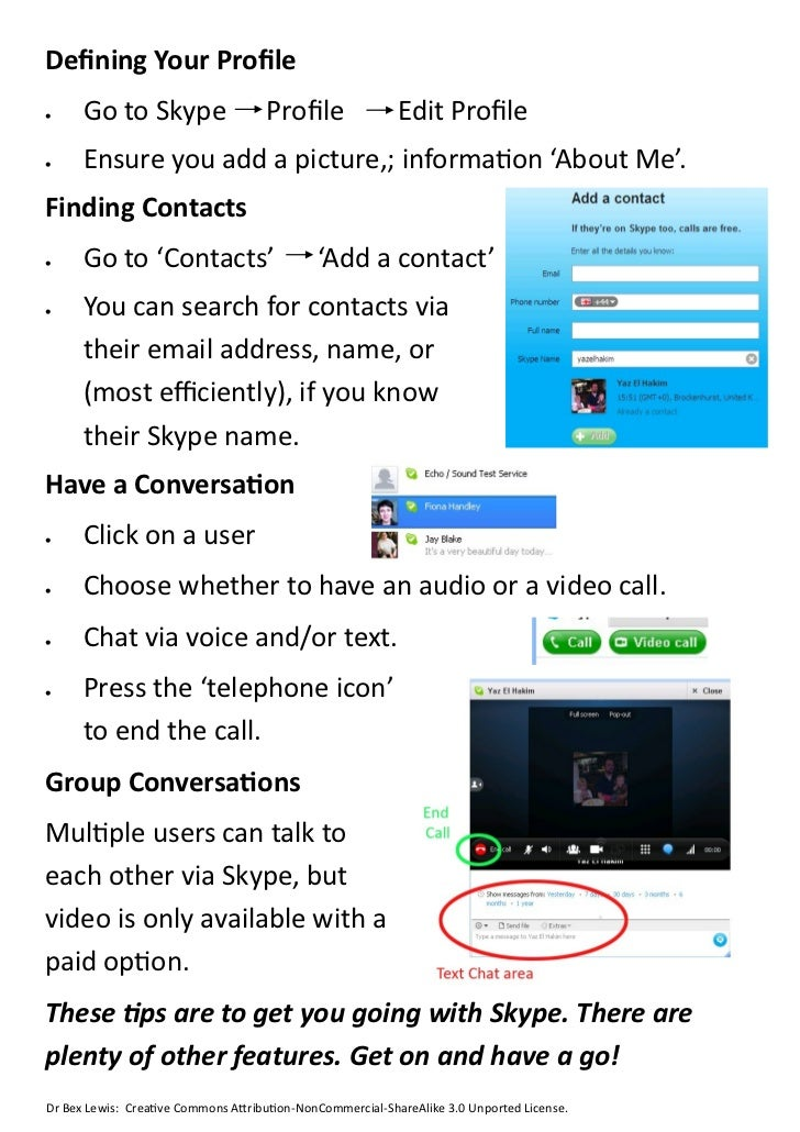 instructions for using skype