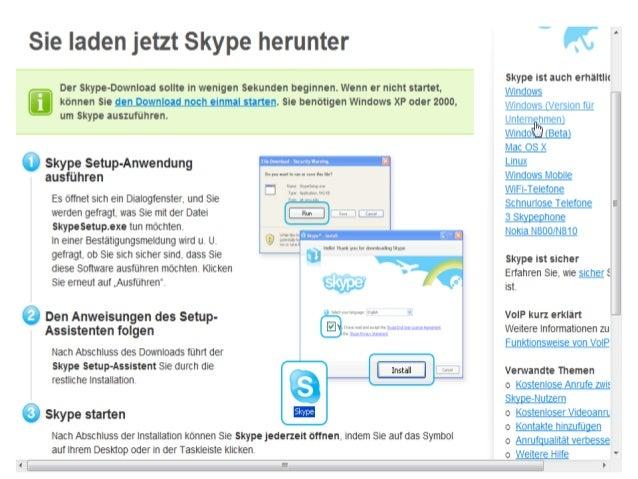 """Skype installieren durch Doppelklick auf die Datei """"SetupSkype.exe"""" auf dem Desktop. Folge den Anweisungen Vorgeschlagener..."""
