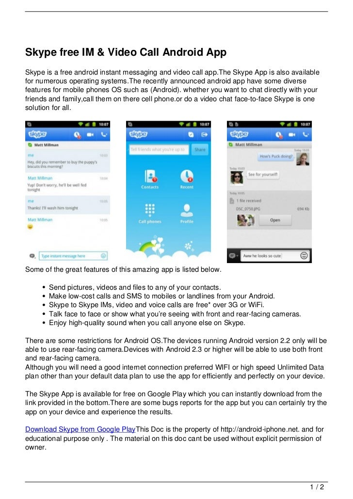skype app free download for android mobile