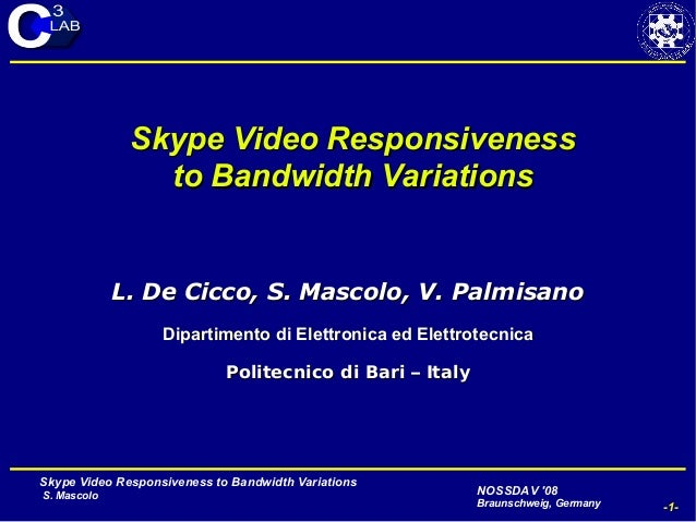 Skype Video Responsiveness to Bandwidth Variations S. Mascolo -1- NOSSDAV '08 Braunschweig, Germany May 28-30, 2008N Skype...