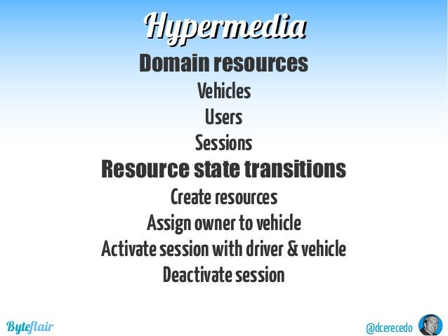 @dcerecedoByteflair HypermediaHypermedia Domain resources Vehicles Users Sessions Resource state transitions Createresourc...