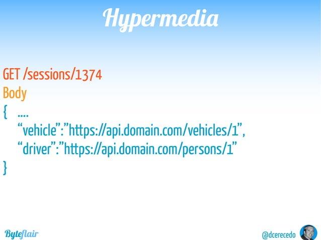 "@dcerecedoByteflair HypermediaHypermedia GET / Headers Link: <https://api.domain.com/vehicles>; rel=""vehicles"": <https://a..."