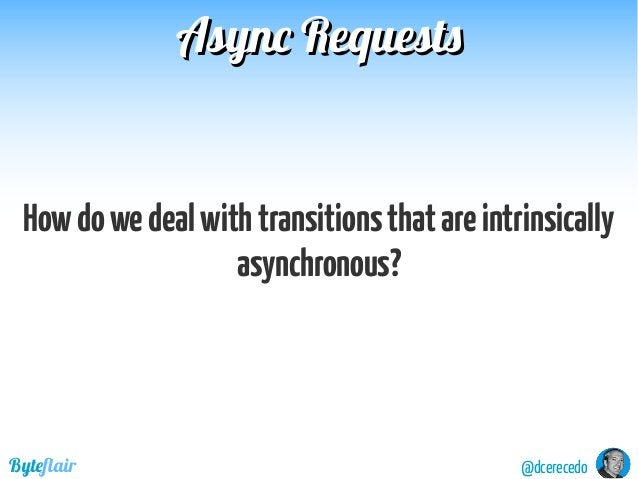 Async RequestsAsync Requests @dcerecedoByteflair Howdowedealwithtransitionsthatareintrinsically asynchronous?