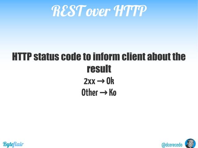 REST over HTTPREST over HTTP @dcerecedoByteflair Components URIs Verbs StatusCode Body Headers