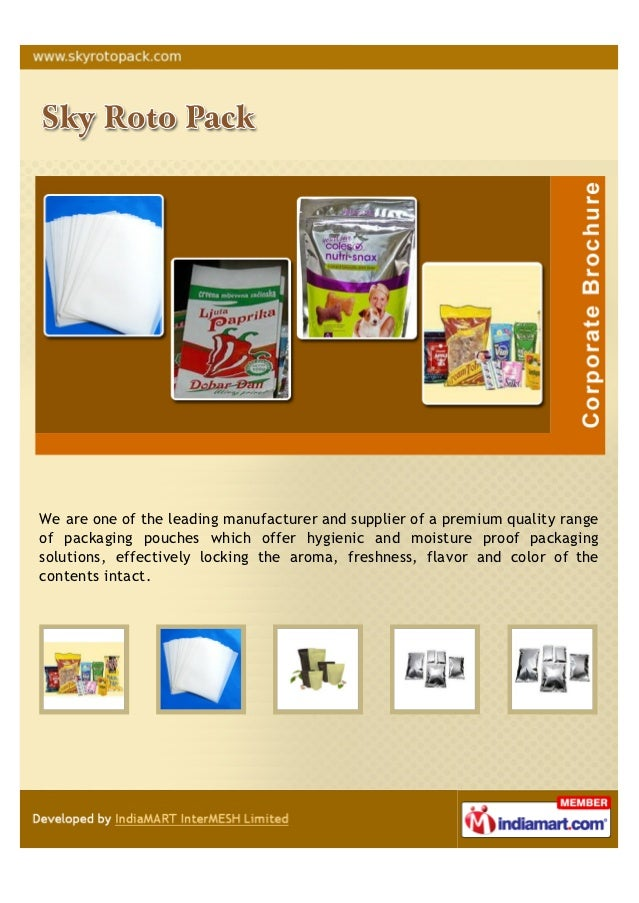 roto pack. we are one of the leading manufacturer and supplier a premium quality rangeof packaging pouches roto pack