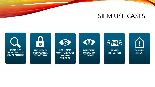 SIEM USE CASES SECURITY & COMPLIANCE REPORTING REAL-TIME MONITORING OF KNOWN THREATS DETECTING UNKNOWN THREATS INCIDENT IN...