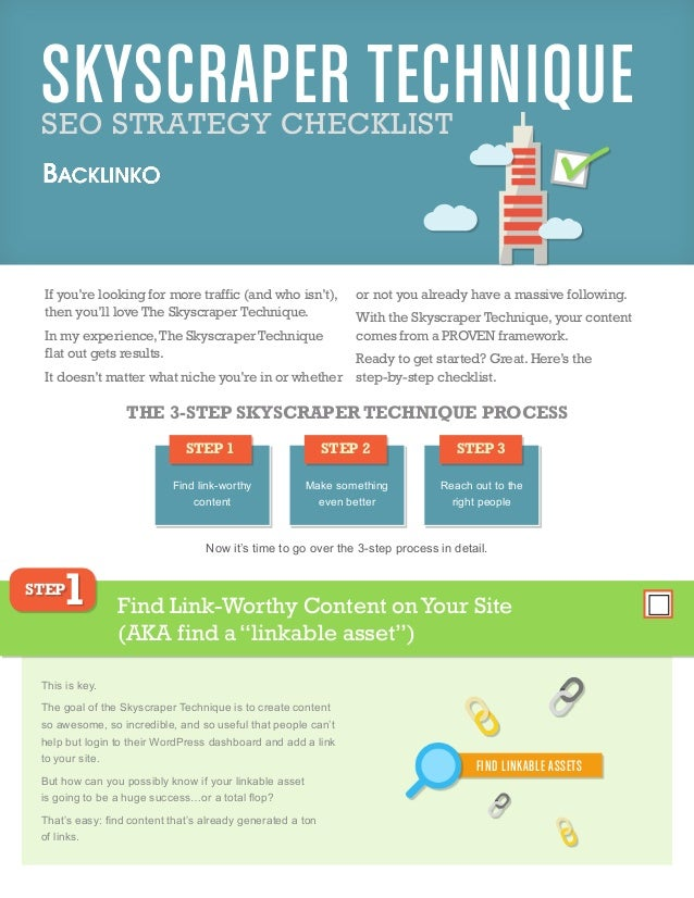 SKYSCRAPER TECHNIQUESEO STRATEGY CHECKLIST If you're looking for more traffic (and who isn't), then you'll love The Skyscr...