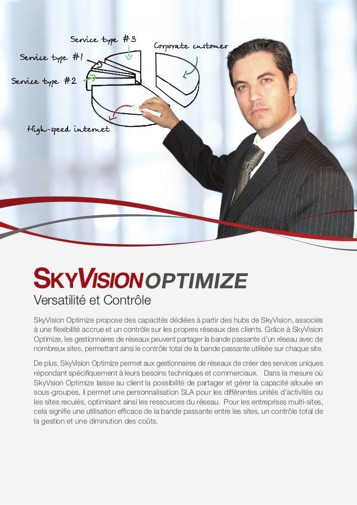 OPTIMIZEVersatilité et ContrôleSkyVision Optimize propose des capacités dédiées à partir des hubs de SkyVision, associésà ...