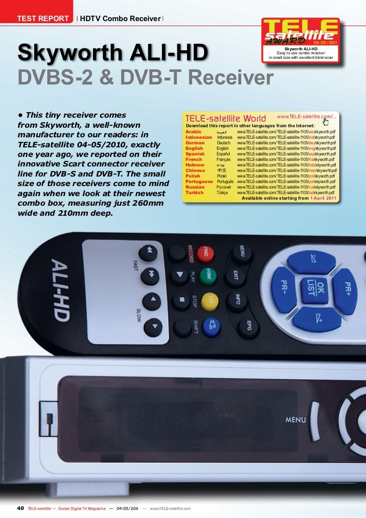 TEST REPORT                   HDTV Combo ReceiverSkyworth ALI-HD                                                          ...