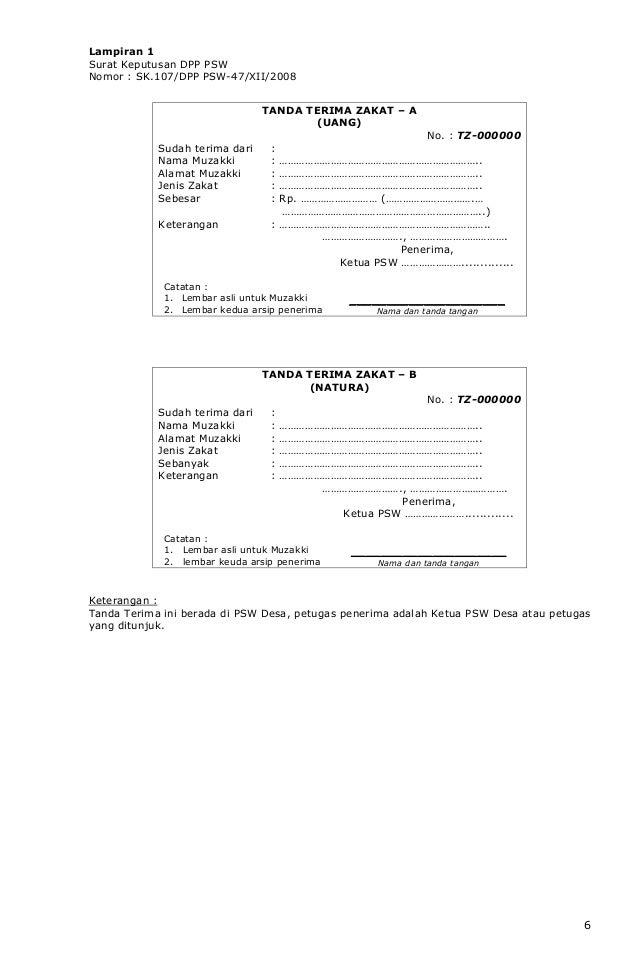 Surat Keputusan Psw Pusat Tanteng Zakat Tahun 2008