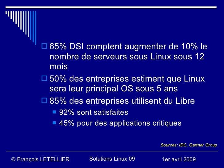  65% DSI comptent augmenter de 10% le             nombre de serveurs sous Linux sous 12             mois            50% ...