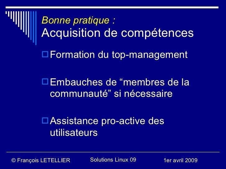 """Bonne pratique :           Acquisition de compétences            Formation du top-management              Embauches de """"..."""