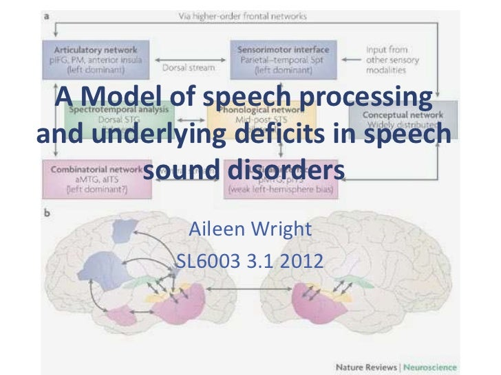 A Model of speech processingand underlying deficits in speech       sound disorders            Aileen Wright           SL6...
