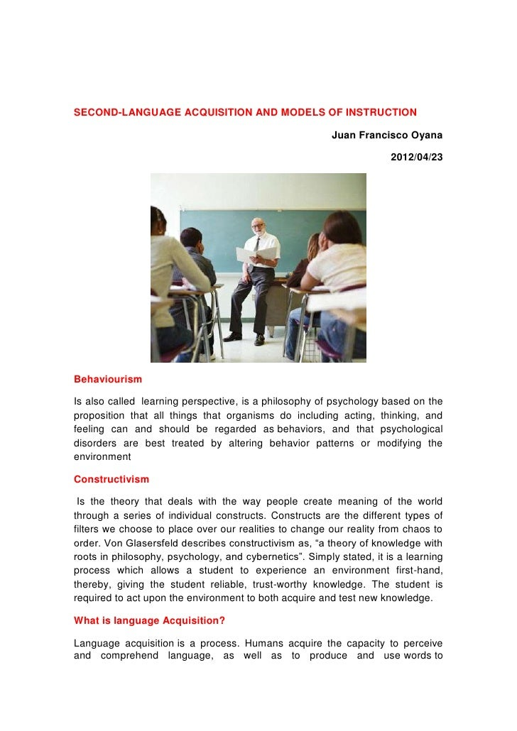 SECOND-LANGUAGE ACQUISITION AND MODELS OF INSTRUCTION                                                         Juan Francis...