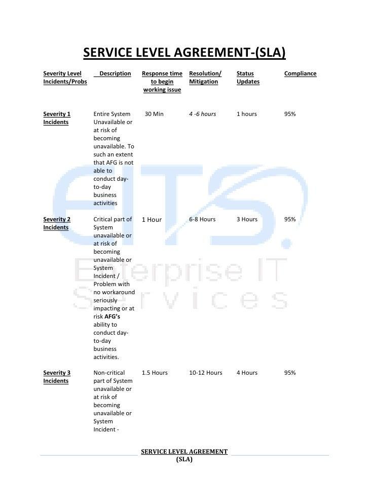 SERVICE LEVEL AGREEMENT-(SLA)<br />Severity LevelIncidents/Probs    DescriptionResponse time to begin working issueResolut...