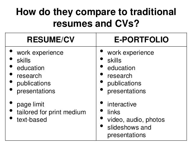 cv compared to resumes