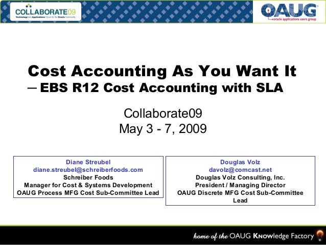 Cost Accounting As You Want It  ─ EBS R12 Cost Accounting with SLA  Collaborate09  May 3 - 7, 2009  Diane Streubel  diane....