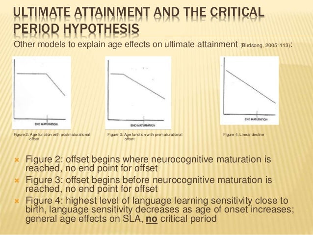 ULTIMATE ATTAINMENT AND THE CRITICAL PERIOD HYPOTHESIS Other models to explain age effects on ultimate attainment (Birdson...