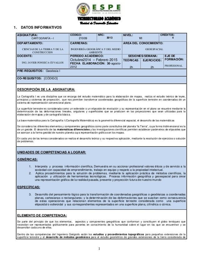 VICERRECTORADO ACADÉMICO Unidad de Desarrollo Educativo 1. DATOS INFORMATIVOS ASIGNATURA: CARTOGRAFÍA – I CÓDIGO: 21009 NR...