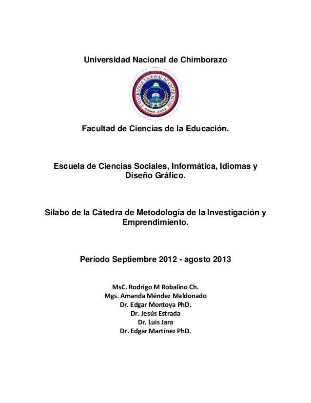 Universidad Nacional de ChimborazoFacultad de Ciencias de la Educación.Escuela de Ciencias Sociales, Informática, Idiomas ...