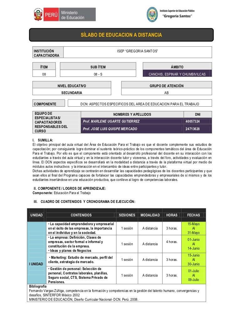 """-104775163830SÍLABO DE EDUCACION A DISTANCIA00SÍLABO DE EDUCACION A DISTANCIA<br />INSTITUCIÓN CAPACITADORAISEP """"GREGORIA ..."""