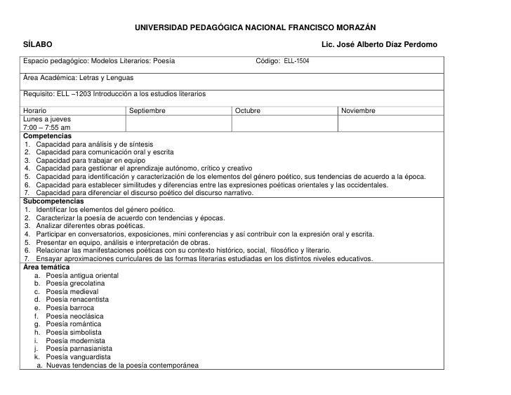 UNIVERSIDAD PEDAGÓGICA NACIONAL FRANCISCO MORAZÁN<br />SÍLABO                                                             ...