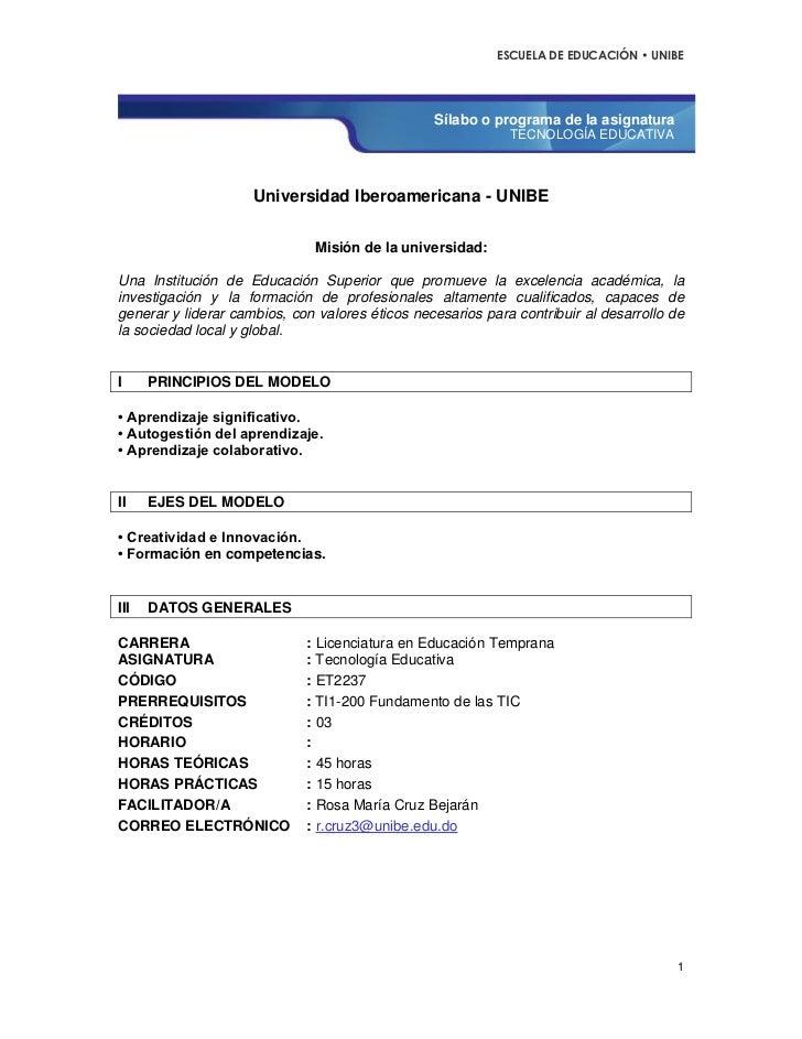 ESCUELA DE EDUCACIÓN • UNIBE                                                 Sílabo o programa de la asignatura           ...