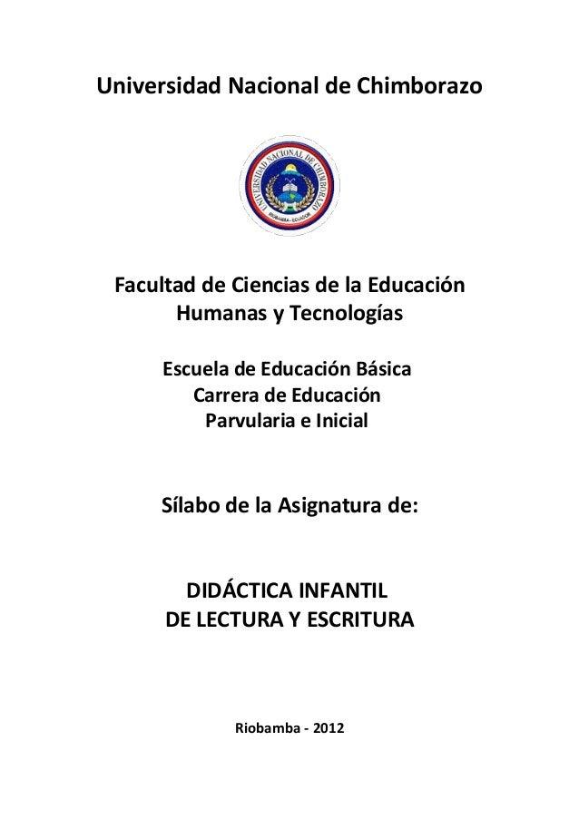 Universidad Nacional de Chimborazo Facultad de Ciencias de la Educación Humanas y Tecnologías Escuela de Educación Básica ...