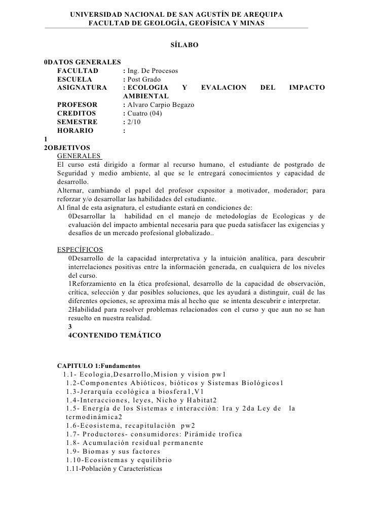 UNIVERSIDAD NACIONAL DE SAN AGUSTÍN DE AREQUIPA             FACULTAD DE GEOLOGÍA, GEOFÍSICA Y MINAS                       ...