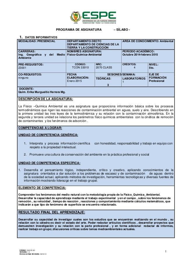 PROGRAMA DE ASIGNATURA – SÍLABO - 1. DATOS INFORMATIVOS MODALIDAD: PRESENCIAL DEPARTAMENTO:DECTC DEPARTAMENTO DE CIENCIAS ...