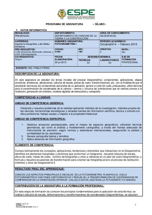 PROGRAMA DE ASIGNATURA – SÍLABO - 1. DATOS INFORMATIVOS MODALIDAD: PRESENCIAL DEPARTAMENTO: DEPARTAMENTO DE CIENCIAS DE LA...