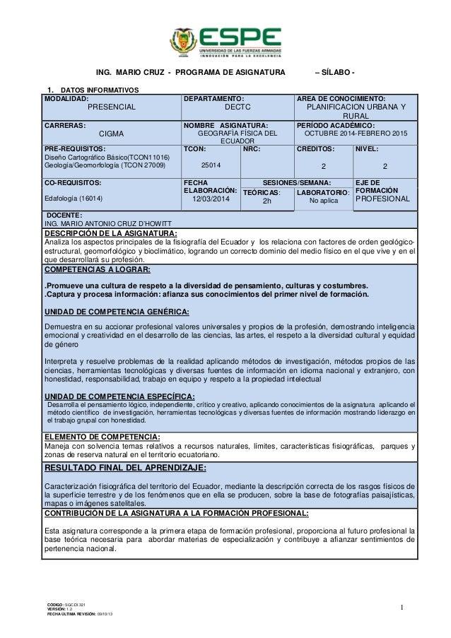 ING. MARIO CRUZ - PROGRAMA DE ASIGNATURA – SÍLABO - 1. DATOS INFORMATIVOS MODALIDAD: PRESENCIAL DEPARTAMENTO: DECTC AREA D...