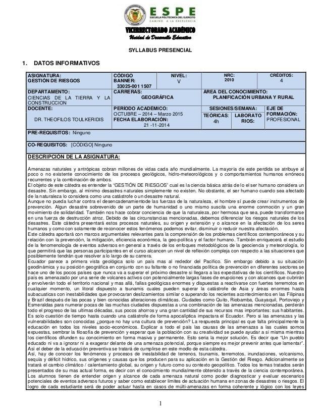 VICERRECTORADO ACADÉMICO Unidad de Desarrollo Educativo SYLLABUS PRESENCIAL 1. DATOS INFORMATIVOS ASIGNATURA: GESTIÓN DE R...