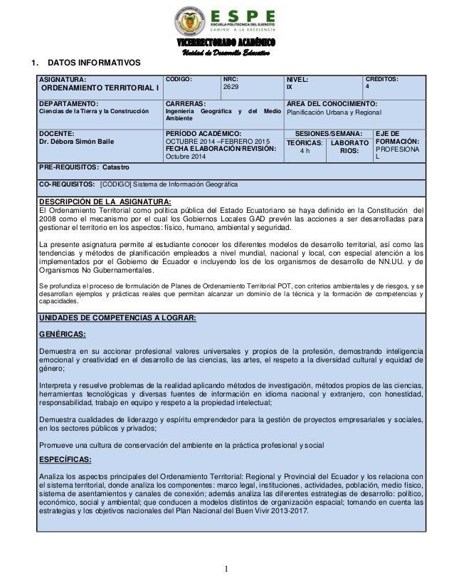 VICERRECTORADO ACADÉMICO Unidad de Desarrollo Educativo 1. DATOS INFORMATIVOS ASIGNATURA: ORDENAMIENTO TERRITORIAL I CÓDIG...